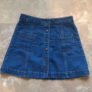 Dark washed denim skirt
